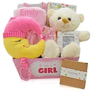 OVER THE MOON FOR YOU BABY GIRL GIFT BASKET - BabyWonderland.com