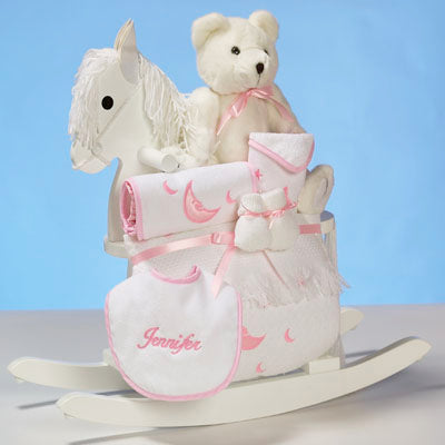 Personalized Baby Girl Rocking Horse Set