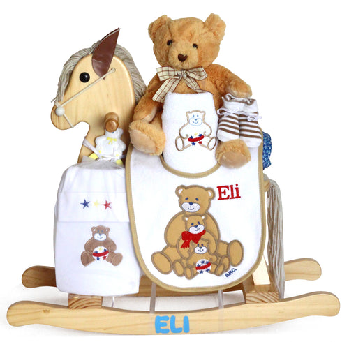 Natural Personalized Rocking Horse Set