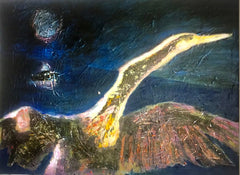 Anhinga at Night: a painting by Inverna Lockpez; Avian Expressions