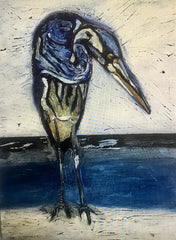 Blue Heron: a painting by Inverna Lockpez; Avian Expressions