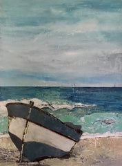 Blue Landing: a painting by Inverna Lockpez; The Boat Run