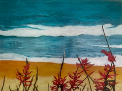 Coral Beans at the Ocean: a painting by Inverna Lockpez; The Boat Run