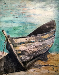 Enduring: a painting by Inverna Lockpez; The Boat Run