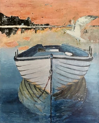 Enigma: a painting by Inverna Lockpez; The Boat Run