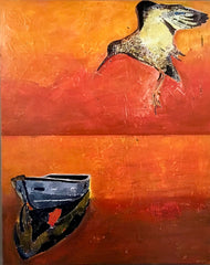 Hovering: a painting by Inverna Lockpez; The Boat Run