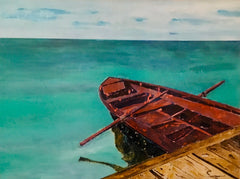 Longing: a painting by Inverna Lockpez; The Boat Run