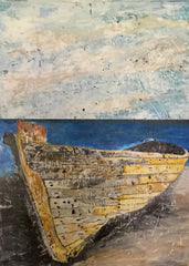 Mercurial: a painting by Inverna Lockpez; The Boat Run