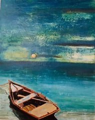 Night: a painting by Inverna Lockpez; The Boat Run