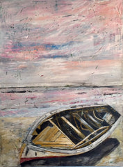 Pink: a painting by Inverna Lockpez; The Boat Run