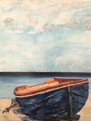 Quietness and the Bird: a painting by Inverna Lockpez; The Boat Run