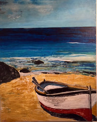 Ripples: a painting by Inverna Lockpez; The Boat Run
