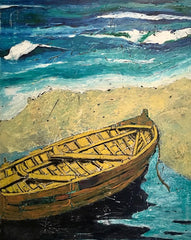 Sudden Rise: a painting by Inverna Lockpez; The Boat Run