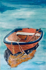 The Copper Boat: a painting by Inverna Lockpez; The Boat Run