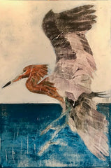 Tricolor Heron: a painting by Inverna Lockpez; Avian Expressions
