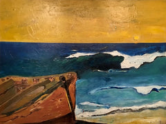 Yellow: a painting by Inverna Lockpez; The Boat Run