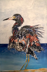 Young Heron: a painting by Inverna Lockpez; Avian Expressions