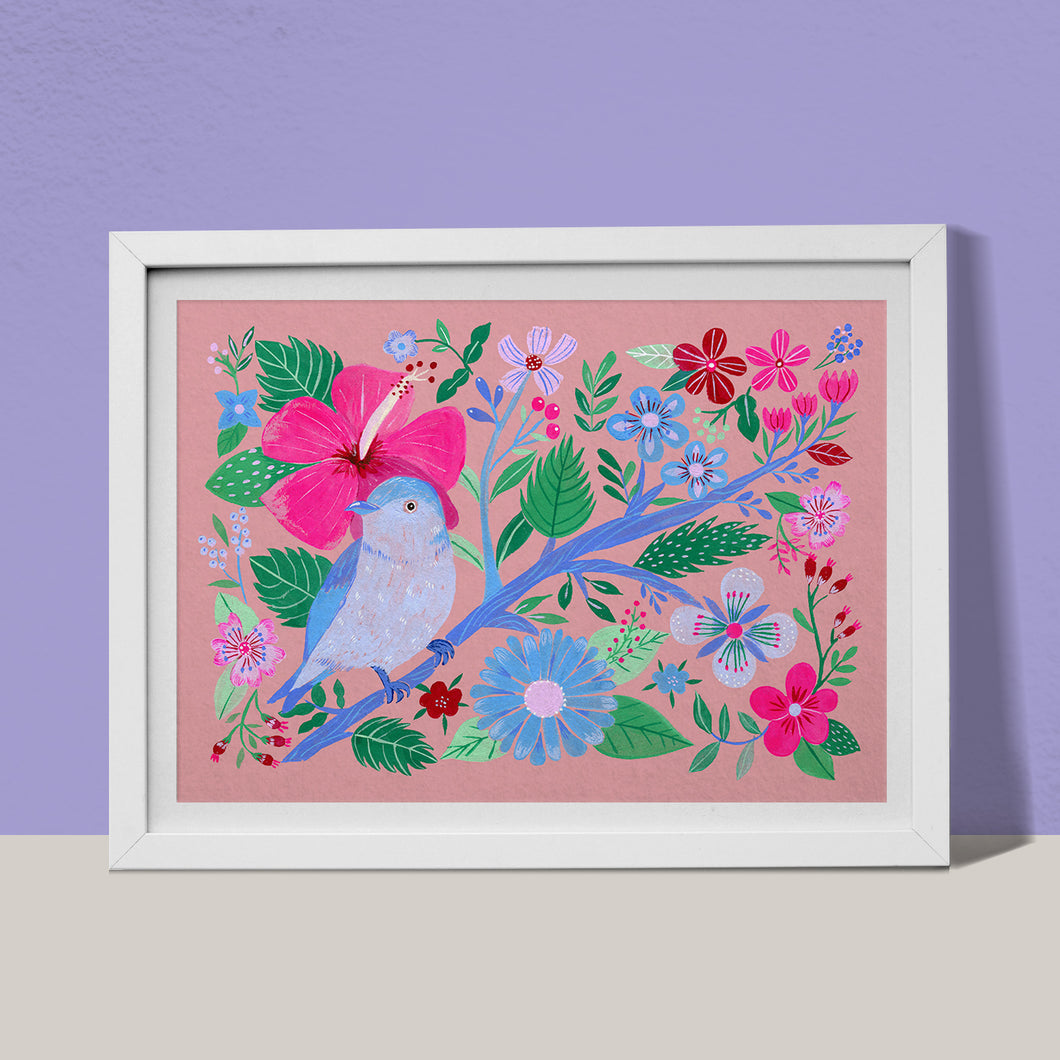 Blue bird, hibiscus and flowers fine art print