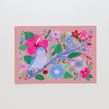 Load image into Gallery viewer, Blue bird, hibiscus and flowers fine art print