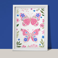 Load image into Gallery viewer, Pink butterflies with botanical details fine art print