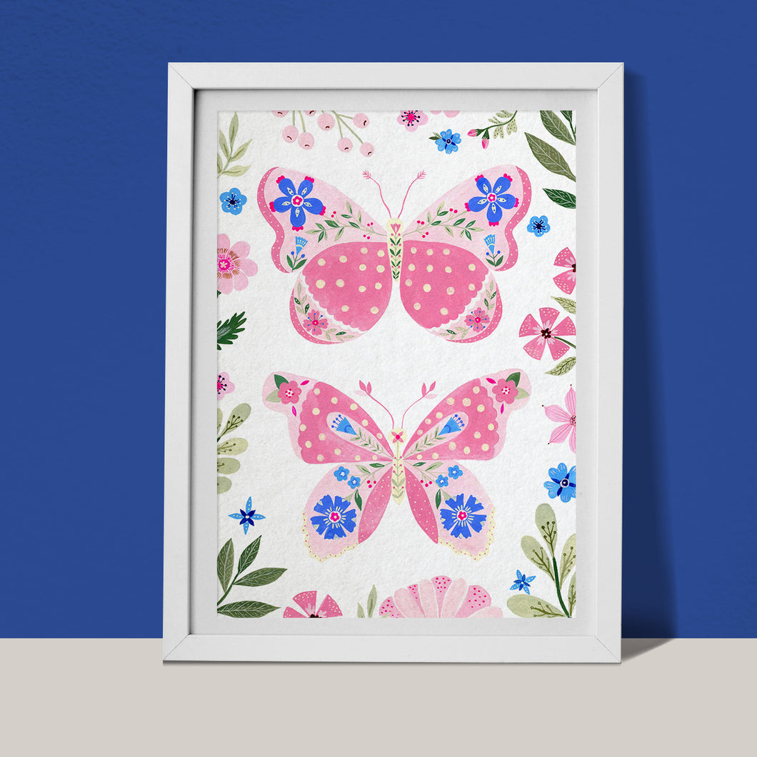 Pink butterflies with botanical details fine art print