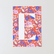 Load image into Gallery viewer, Coral floral personalised initial fine art print