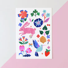 Load image into Gallery viewer, Pink rabbit and hummingbird fine art print