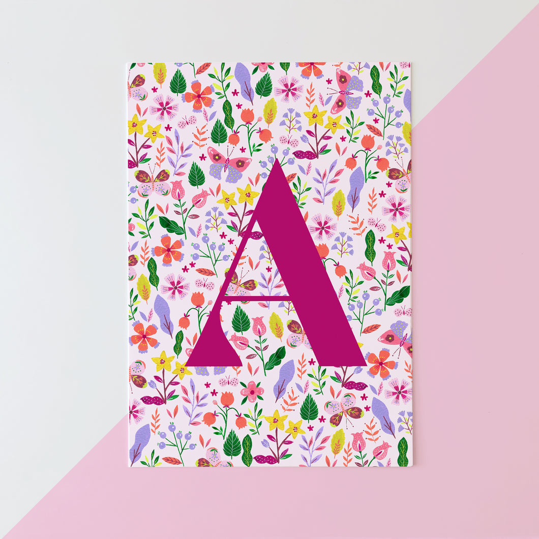 Summer floral print personalised initial fine art print