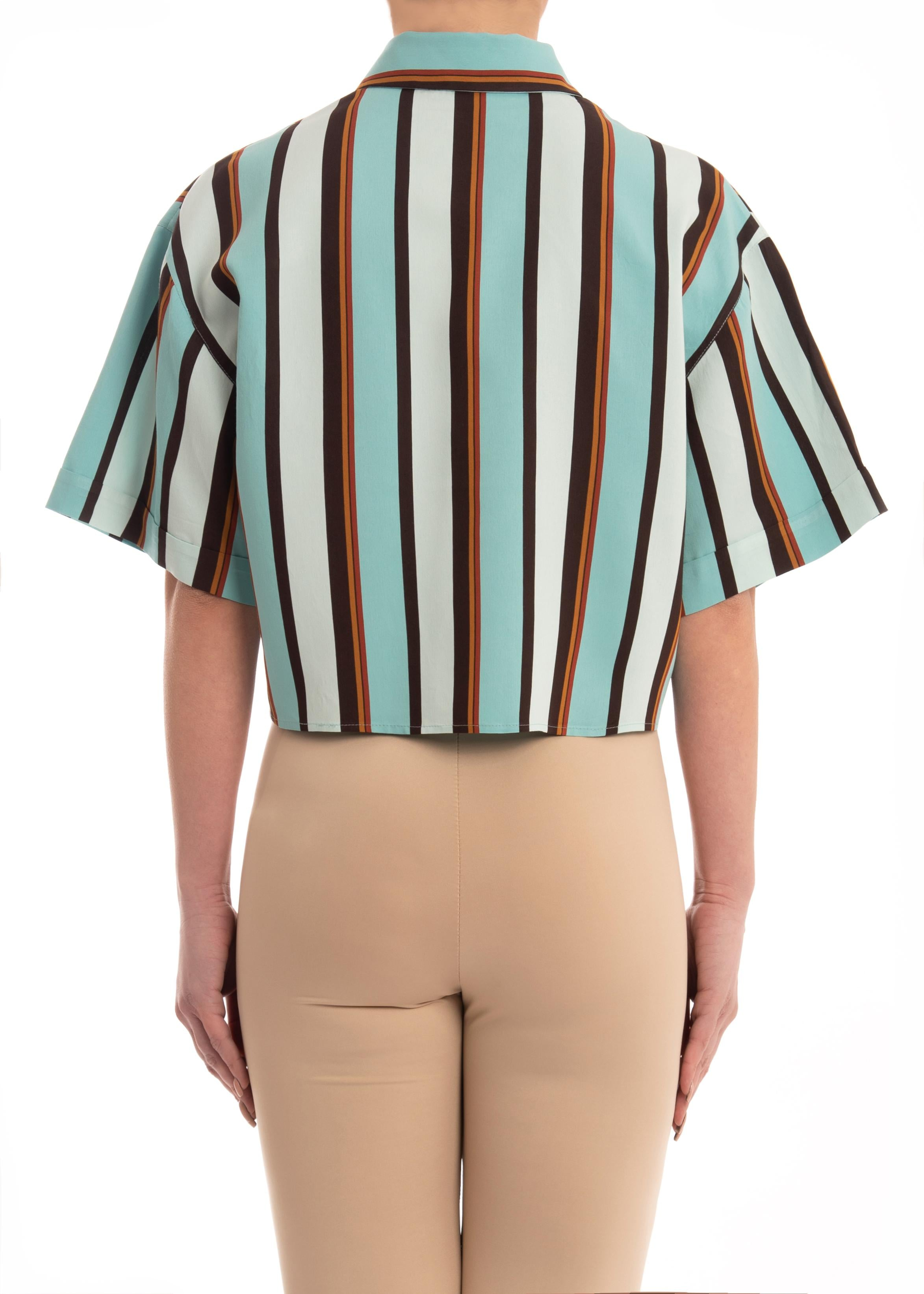 Camicia crop top in popeline di viscosa stampato