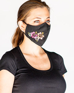 Special Edition Adult Cloth Face Covering with Hawaiian Hibiscus Flowers Embroidered on The Side with Filter Pocket