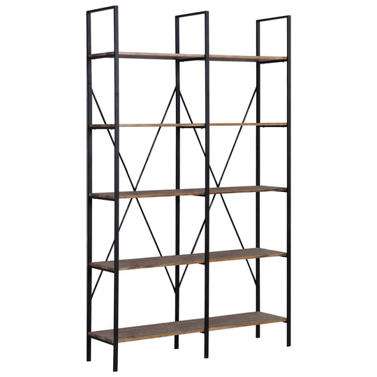 (TBQ) Vintage - Brown 5 tier Double Bookcase P22