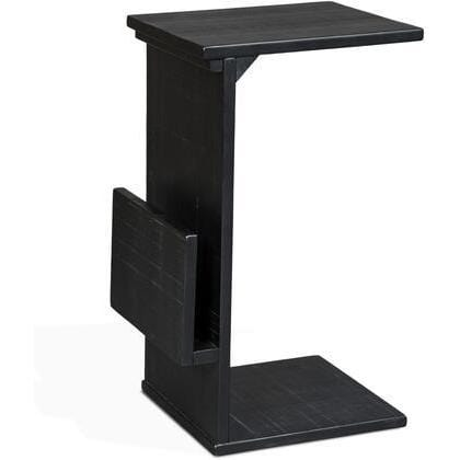 (Sun) Black Chairside Table W Rack