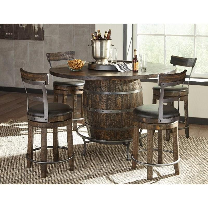 Round Barrel Dining Table Set