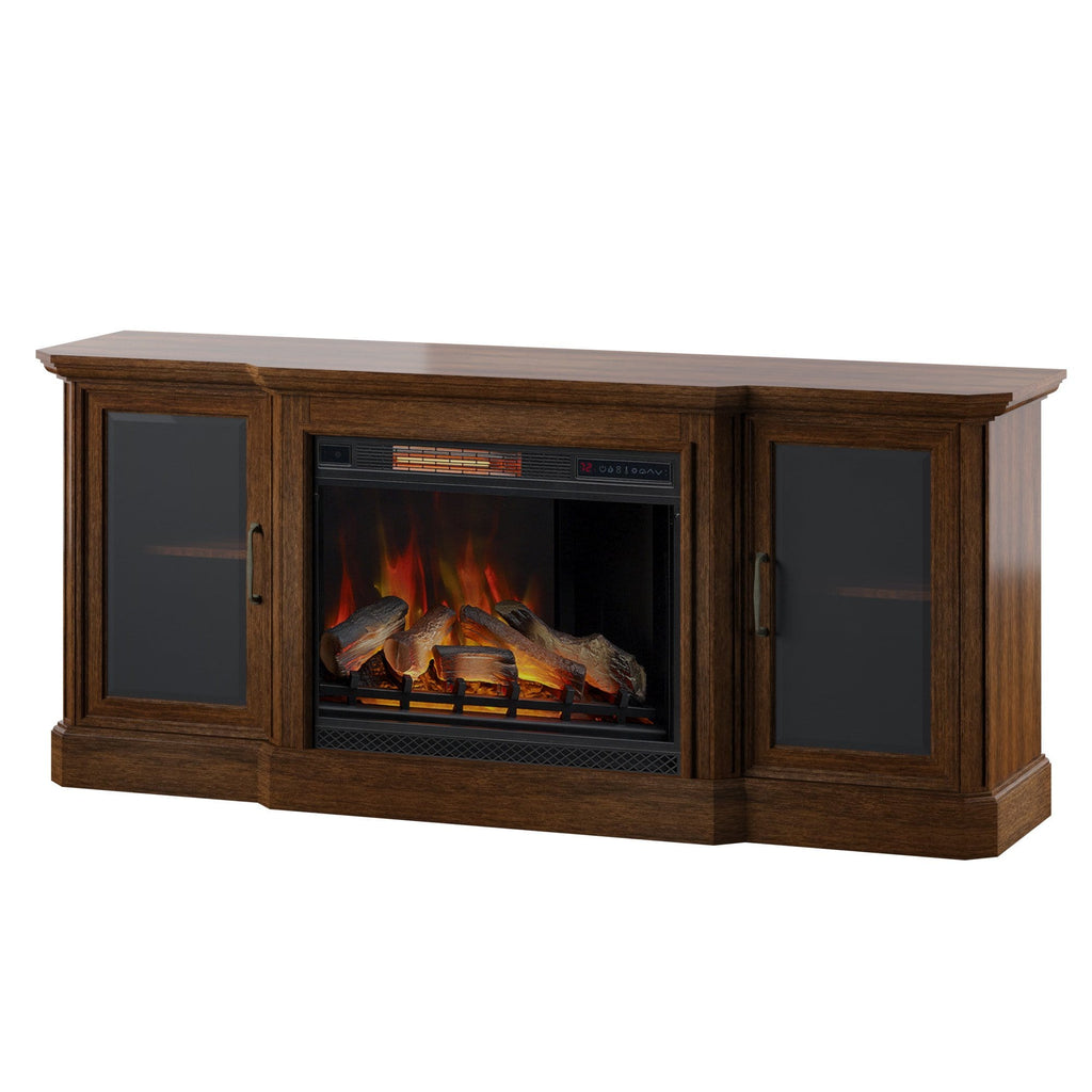 (TS) Tv Stand Fire place Brown P22