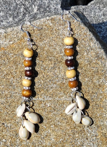 """Nia"" Cowrie Shell Dangle Earrings"