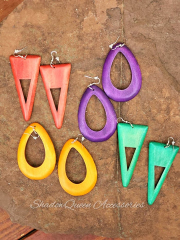 Colorful Wooden Hanging Earrings
