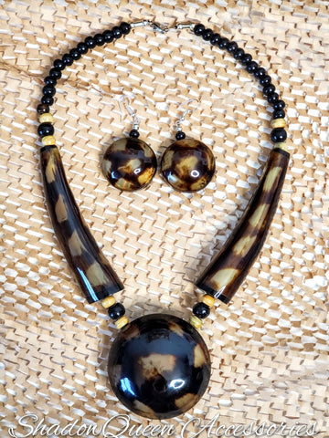 XL Bone Pendant Beaded Necklace Set