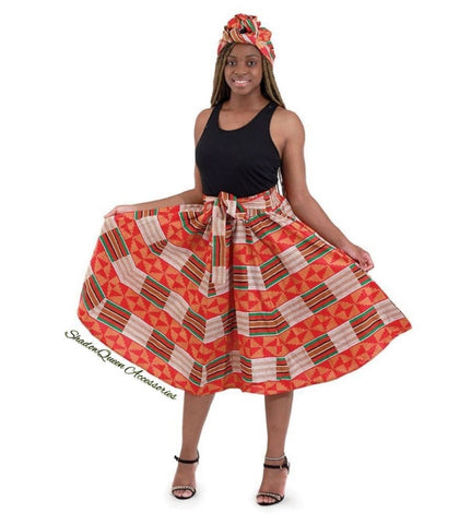 Red and Pink Kente Skirt