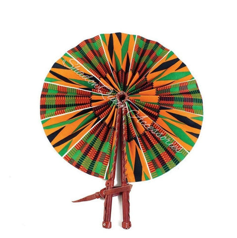 Orange Kente Leather Folding Fan - 1