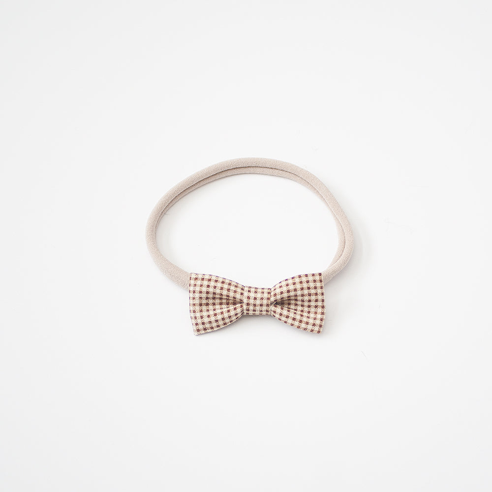 Rose Brown Gingham | Mini Bow