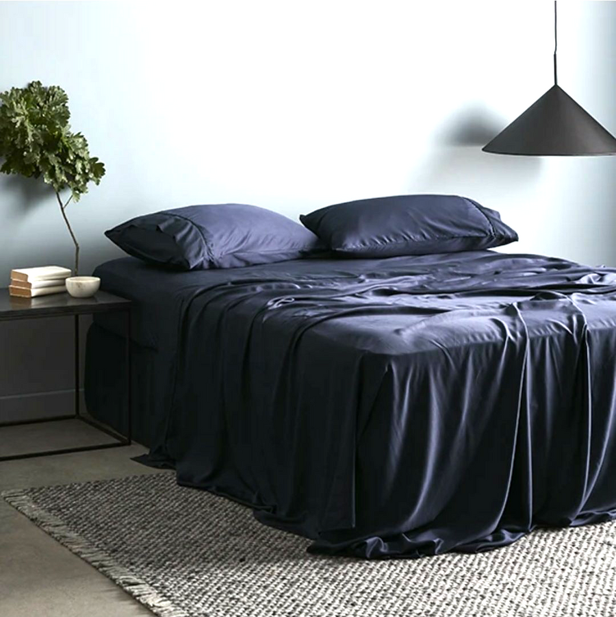 Cotton Sateen Navy Fitted Bed Sheet