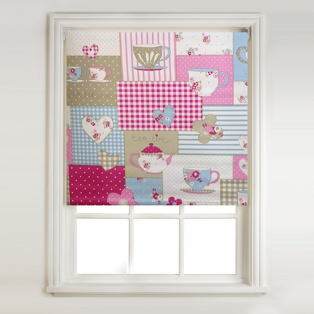 Pink Patchwork Thermal Blackout Roller Blind & Metal Bracket Fittings