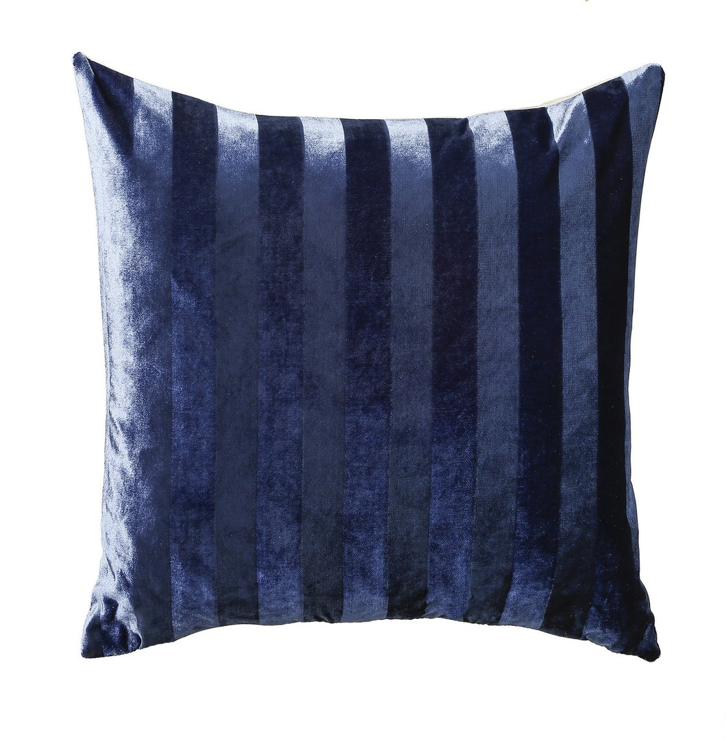 Louis Chenille Stripe Blue Duck Feather Filled Cushion 43cm x 43cm