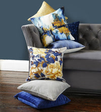 Load image into Gallery viewer, Louis Chenille Stripe Blue Duck Feather Filled Cushion 43cm x 43cm