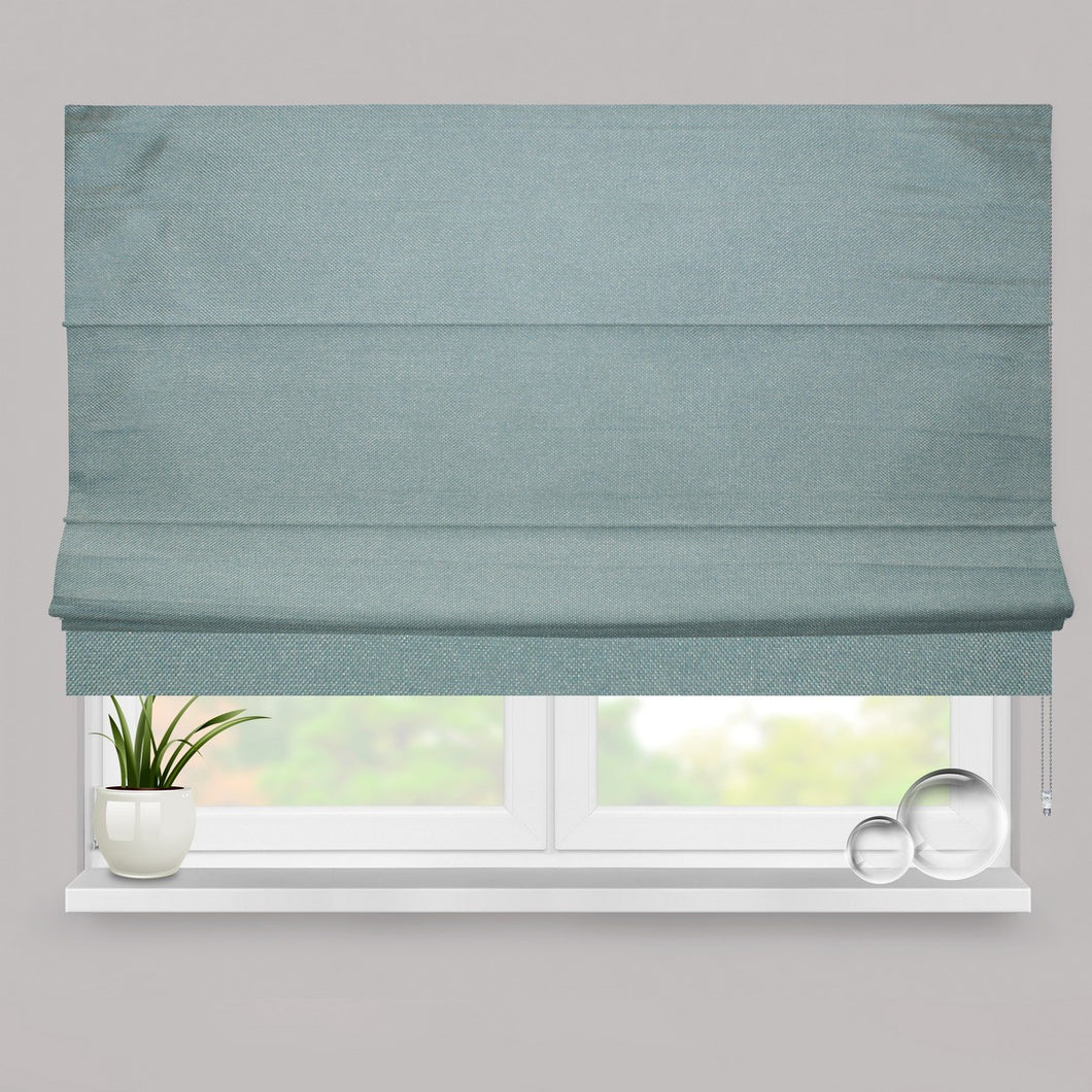 Teal Weave Fully Lined Roman Blind