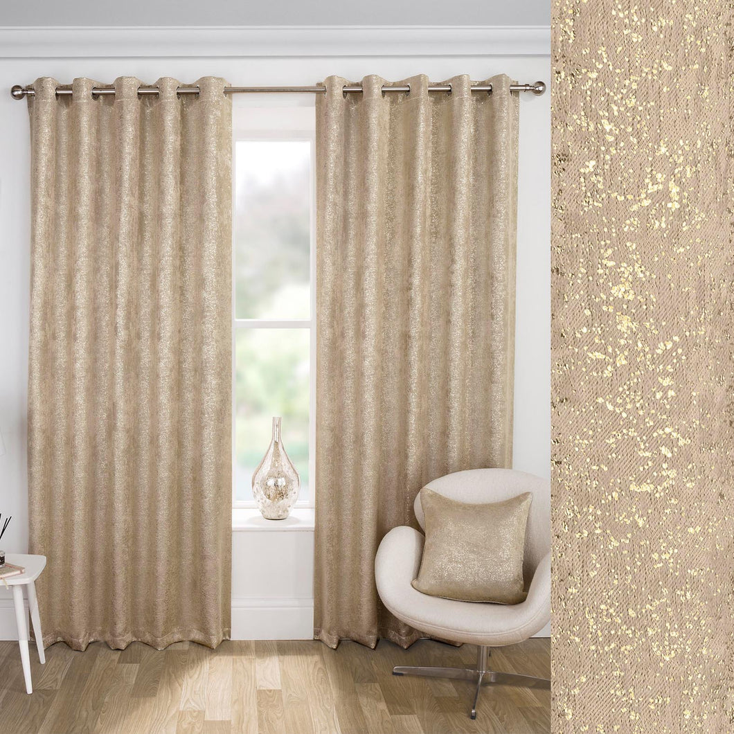 Halo Shimmer Natural Self Lined Curtains