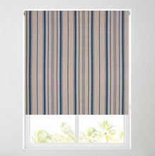 Load image into Gallery viewer, Linen Stripe Blue Thermal Blackout Roller Blind