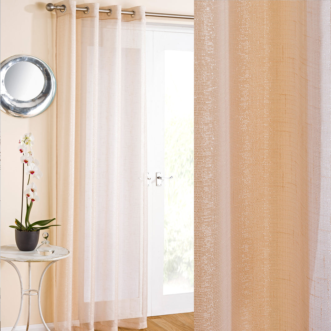Marrakesh Cream Sparkle Eyelet Voile Curtain Panel