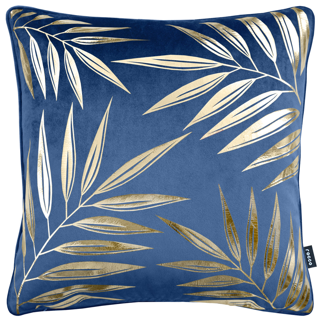 Riviera Metallic Leaf Velvet Cushion Navy
