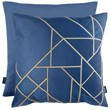 Load image into Gallery viewer, Linear Embroidered Velvet Cushion Navy